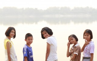 Picture of kids by river